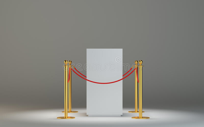 Glass showcase for exhibit with fence and rope. White showcase for exhibit with gold fence and red rope. Grey background is illuminated spot. 3D illustration stock photos