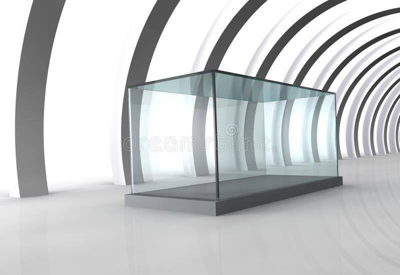 Glass Showcase In Grey Room With Columns Stock Photography