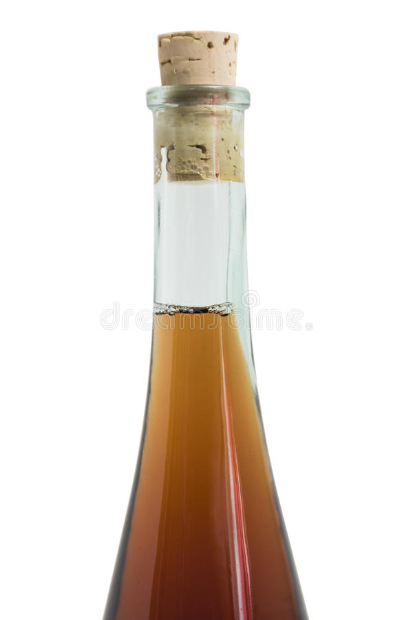 Glass single elegant bottle of alcohol drink like wisky, cognac, rom or liquor. Glass clean single shiny beautiful elegant round closed bottle of an alcohol stock photos