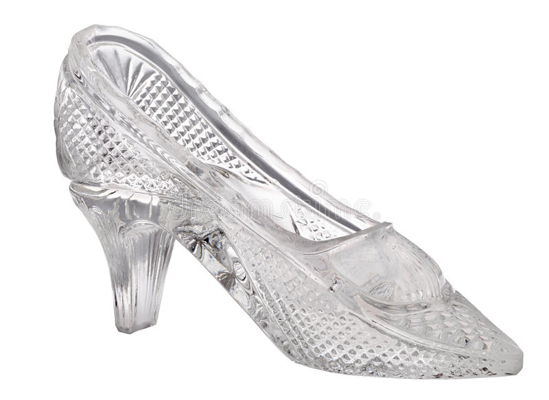 Glass single shoe isolated on white. Glass shoe isolated on white background royalty free stock photography