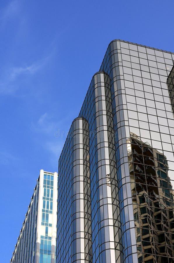Glass Skyscraper. Against a blue sky in Vancouver Canada stock photo