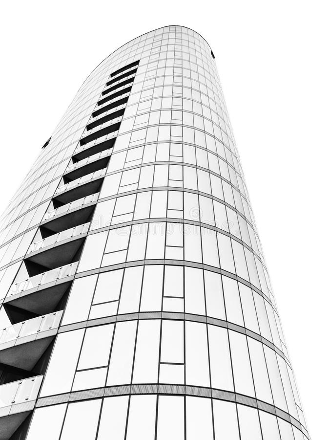 Glass skyscraper in black and white. Modern architecture. Luxury apartment building stock photo