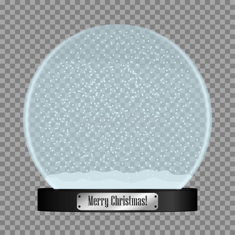 Glass snöjordklot Realistisk snowglobeboll med flygsnöflingor som isoleras på genomskinlig bakgrund vektor vektor illustrationer