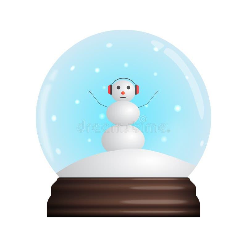 Glass Snow Globe souvenir. Snowflakes, chistmas funny Snowman. Vector illustration stock illustration