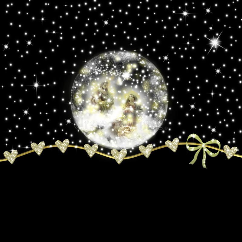 Download Glass Snowball Nativity Scene Christmas Card Stock Image   Image  Of Christmas, Border: