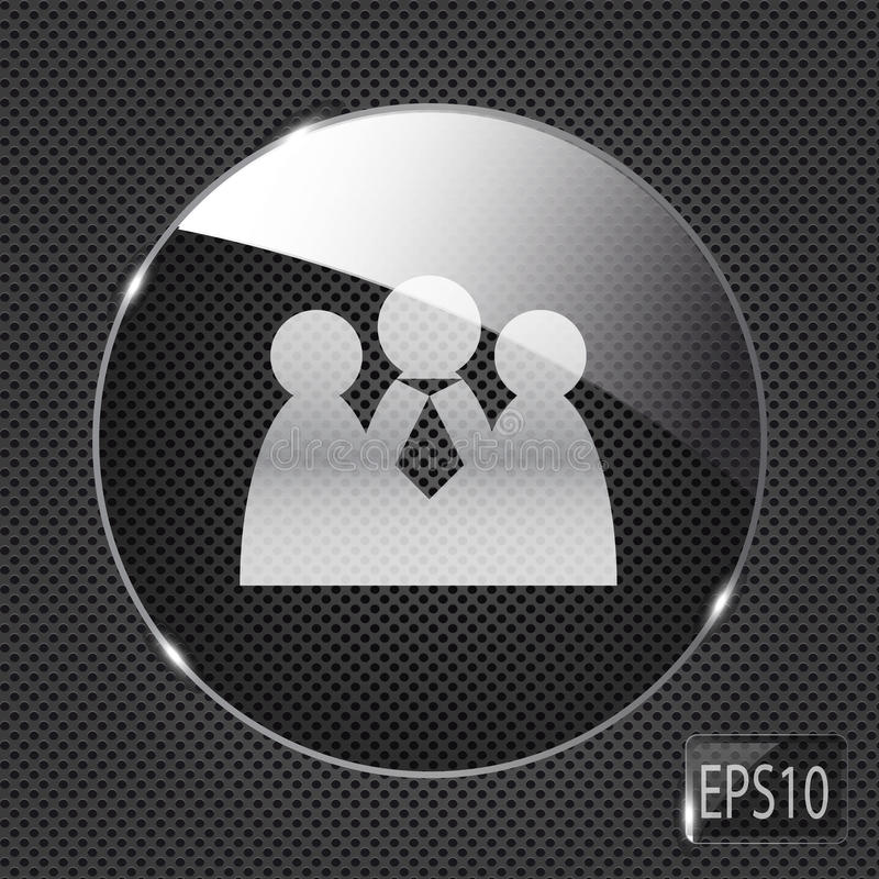 Glass social network button icon on metal royalty free illustration