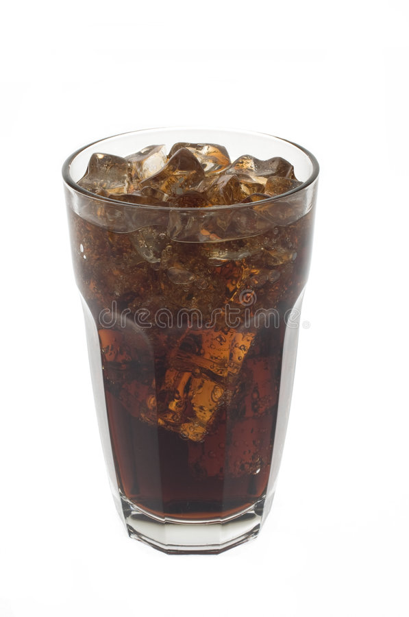 Glass of soda and ice stock photo