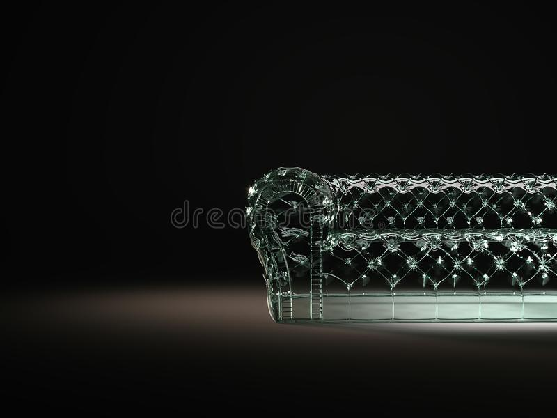 Glass sofa chesterfield style retro concept in the dark environment. 3d render. Glass sofa chesterfield style retro concept in the dark environment. 3d royalty free stock images