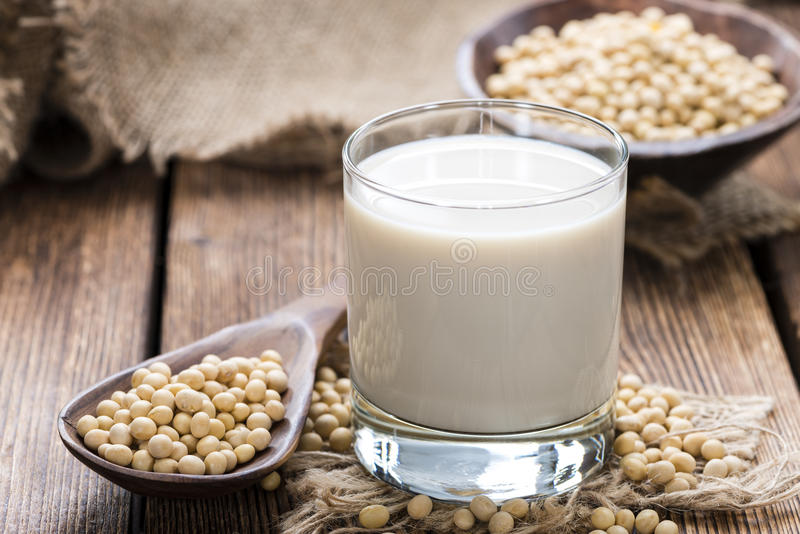 Glass with Soy Milk royalty free stock photo