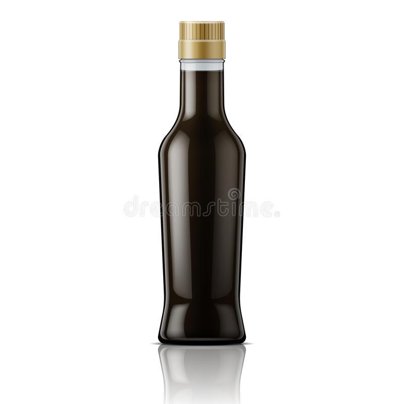 Glass soy sauce bottle. Glass bottle with soy sauce. Packaging collection vector illustration