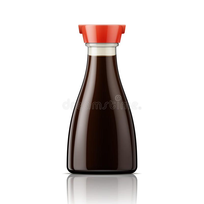 Glass soy sauce bottle with red cap. Vector illustration. Package collection royalty free illustration