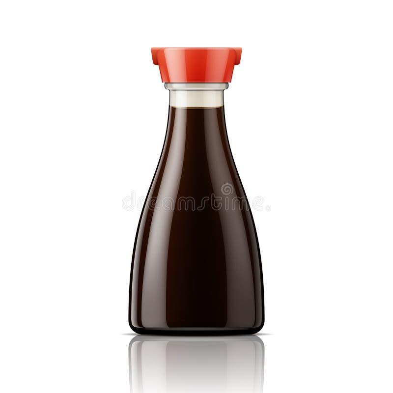 Glass soyaflaska med det röda locket royaltyfri illustrationer