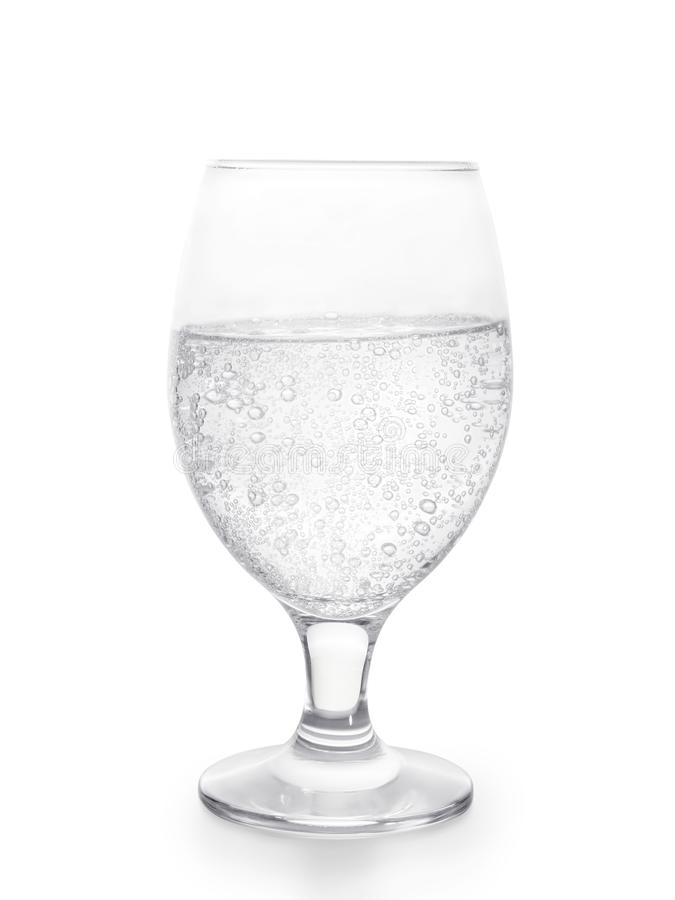 Glass of sparkling water isolated with clipping path stock images
