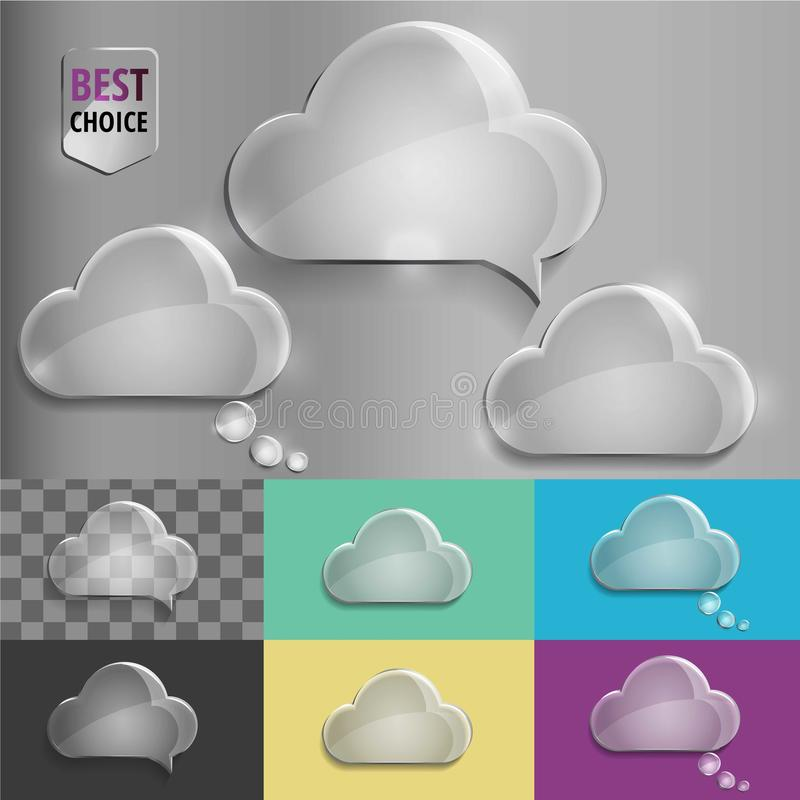 Glass speech bubble cloud icons with soft shadow on gradient background . Vector illustration EPS 10 for web. stock illustration