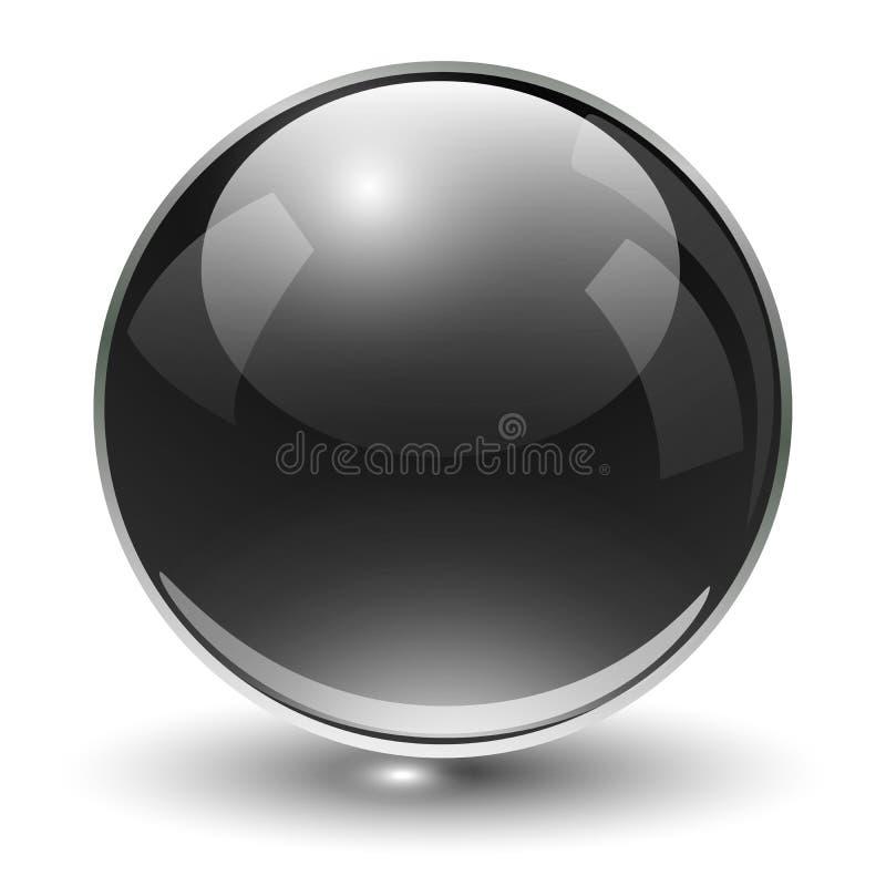 Glass sphere black. Glass sphere, black vector ball stock illustration
