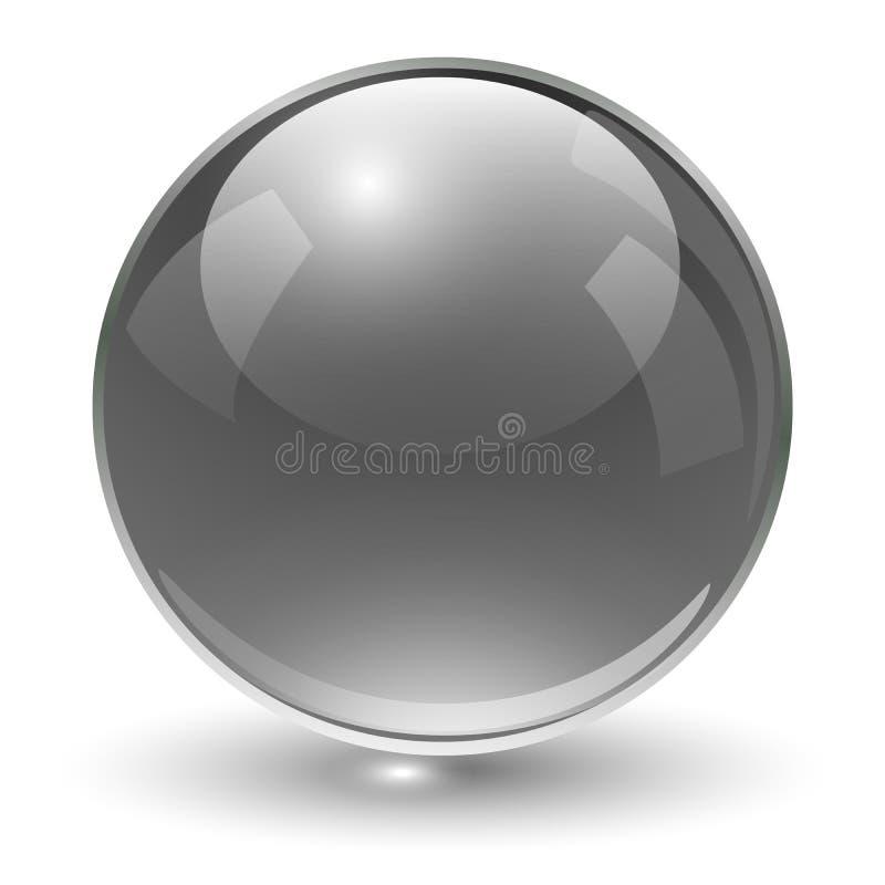 Glass sphere black. Glass sphere, black vector ball vector illustration