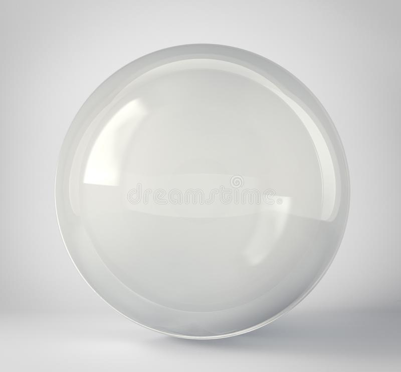 Glass sphere isolated on a grey. 3d illustration stock illustration