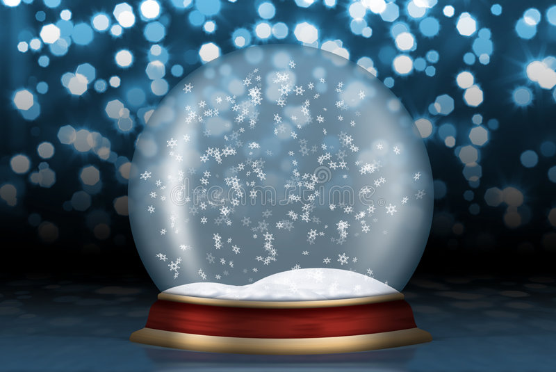 Glass sphere with snow from background. Glass sphere. Christmas scenery created by means of computer technology