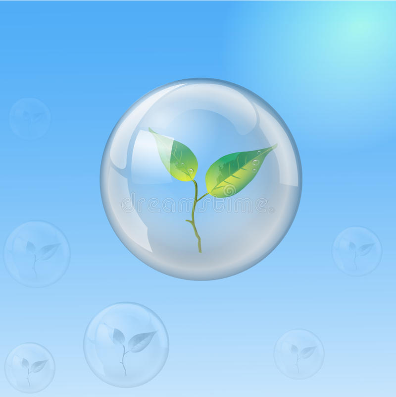 Glass sphere with sprout, ecology vector illustration