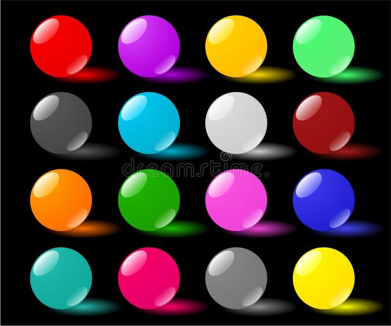 Download Glass Spheres On Black Backdrop Stock Illustration - Image: 24317676