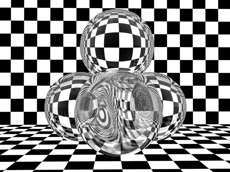 Glass spheres on checkerboard stock illustration
