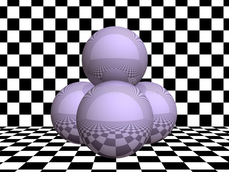 Download Glass Spheres On Checkerboard Stock Illustration - Image: 9920231