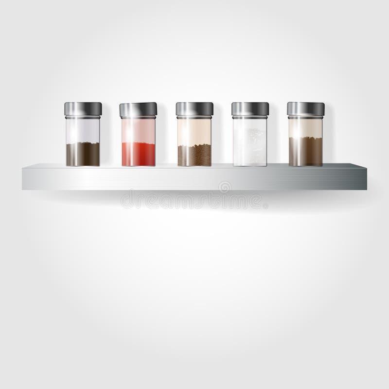 Glass spice on a metal shelf vector illustration