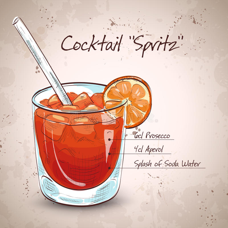 Glass of spritz aperitif aperol cocktail vector illustration
