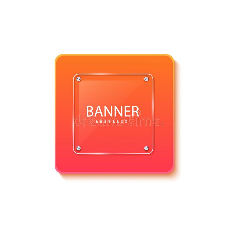 Glass square banner on the background of the plate in the shape of a rectangle. Layered background square shapes with. Color orange red gradient. Design stock illustration