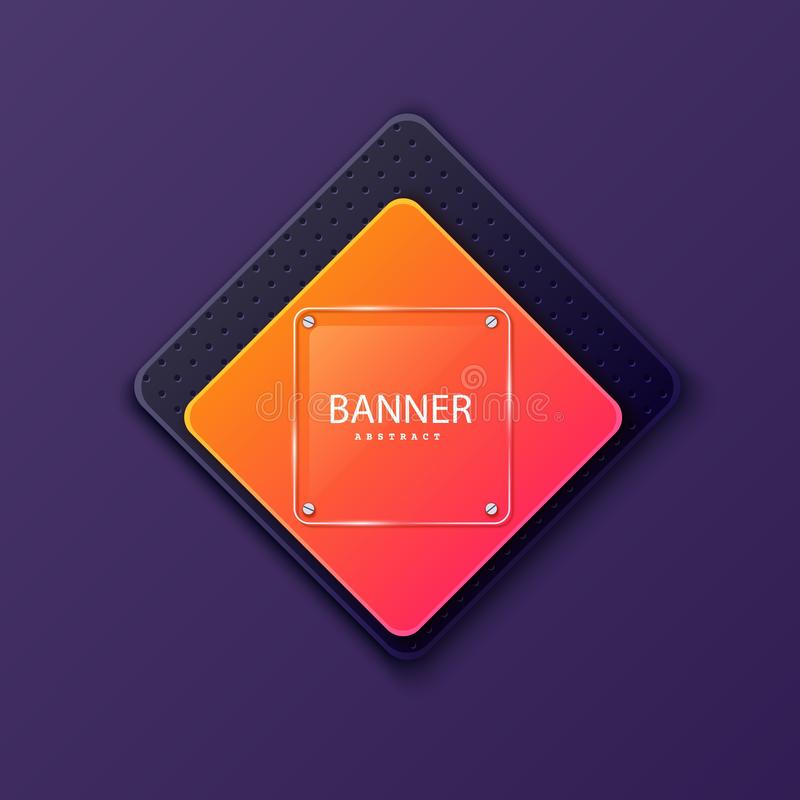 Glass square banner on the background of the plate in the shape of a rhombus. Layered background square shapes with. Color gradient gradients. Design elements vector illustration