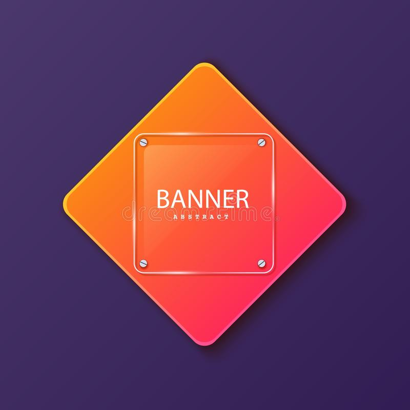 Glass square banner on the background of the plate in the shape of a rhombus. Layered background square shapes with. Color orange red gradient. Design elements royalty free illustration