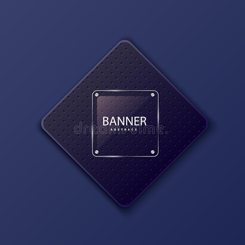 Glass square banner on the background of the plate in the shape of a rhombus. Layered background square shapes with dark. Dots. Design elements for celebrating stock illustration