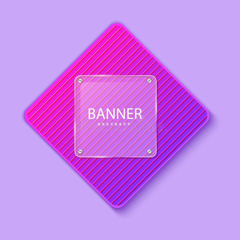 Glass square banner on the background of the striped plate in the shape of a rhombus. Layered background square shapes. With color neon gradient. Design stock illustration