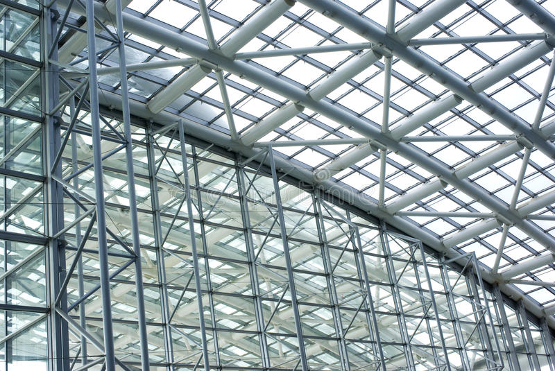 glass stålstruktur arkivfoto