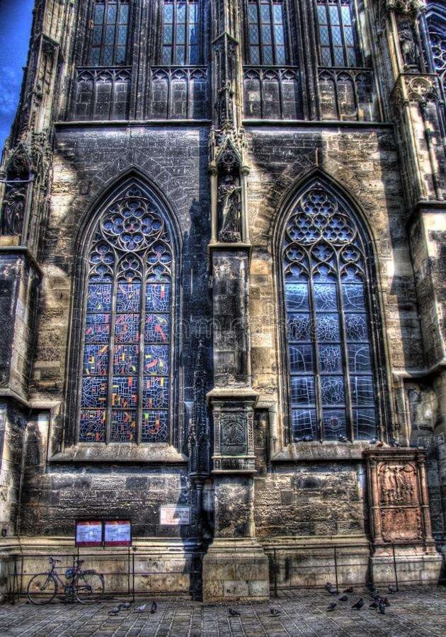 Glass-stained windows on saint stephen's church stock images