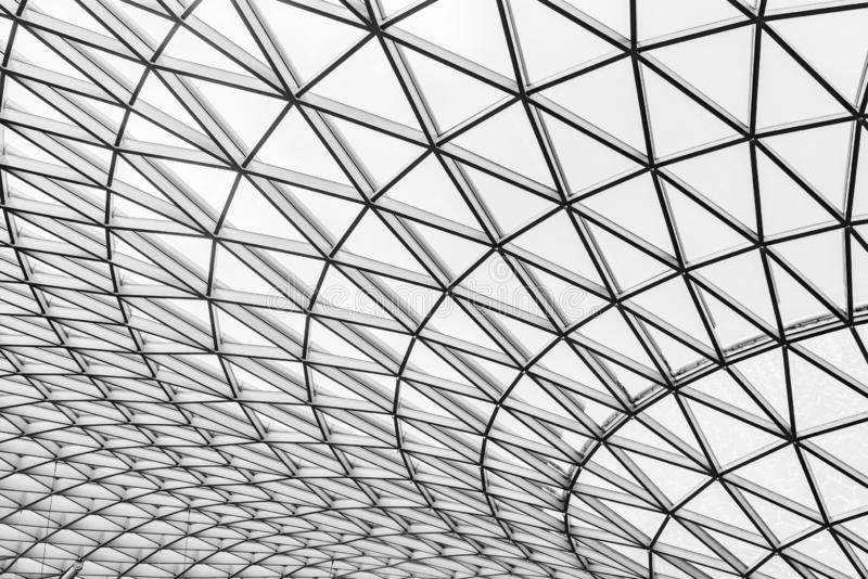 Glass and steel building with triangle pattern structure. Futuristic architecture. Neo-futurism architectural style. White. Triangle geometric dome texture royalty free stock image