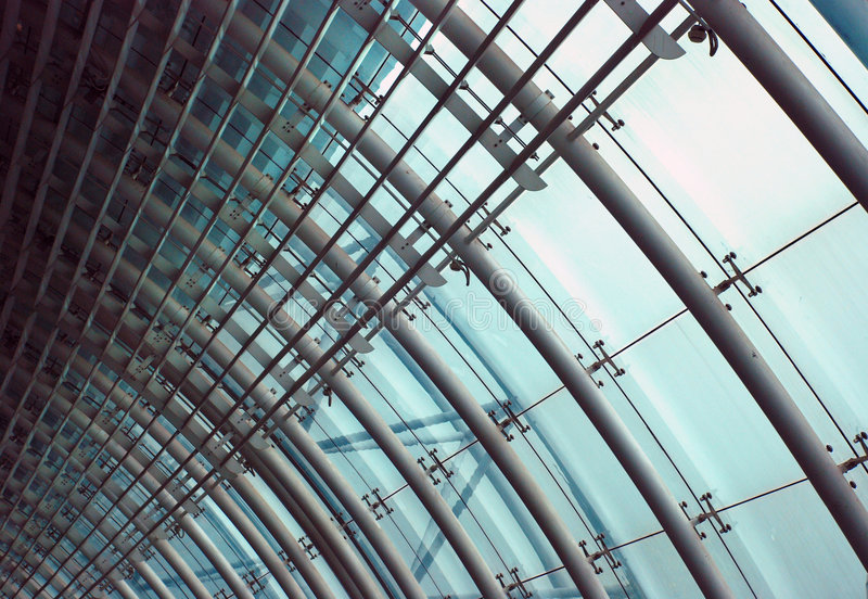 The glass and steel wall. The glass and steel structure wall of a hall stock image