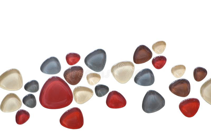 Glass stones - mosaic on a white background stock photography