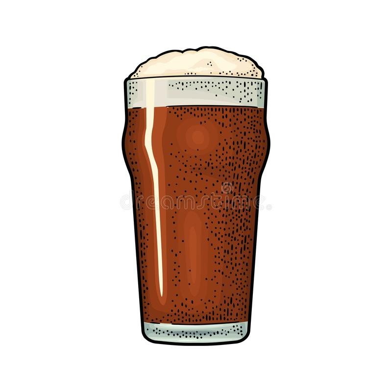 Glass with stout beer. Vintage color vector engraving stock illustration