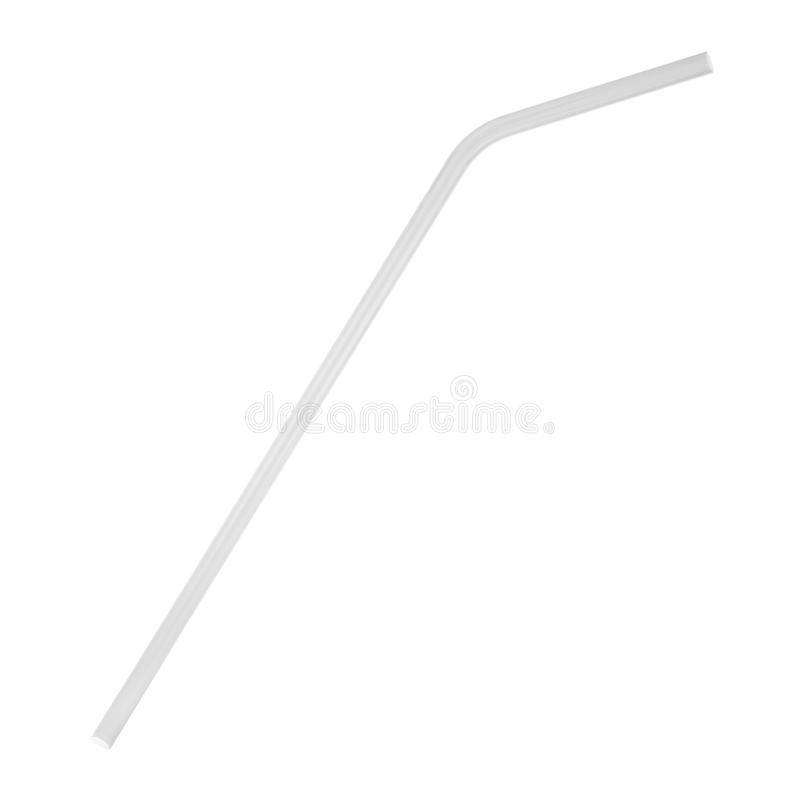 Glass straw to use instead of plastic one. 3d illustration isolated on white background royalty free illustration