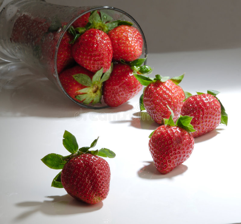 Glass of Strawberry stock images