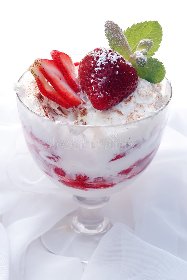 Glass with strawberry dessert royalty free stock images