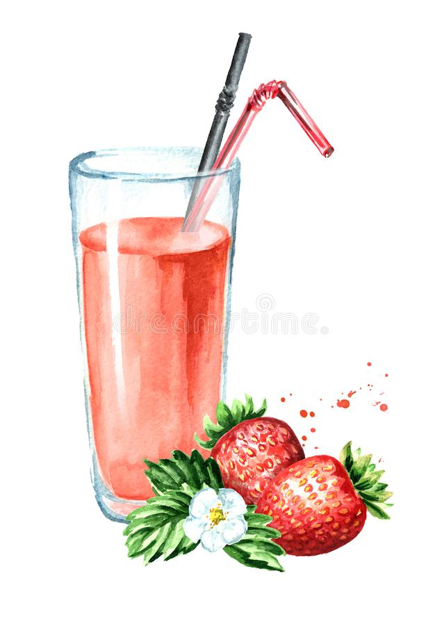Glass of strawberry Juice with fresh berries. Watercolor hand drawn illustration, isolated on white background. royalty free illustration