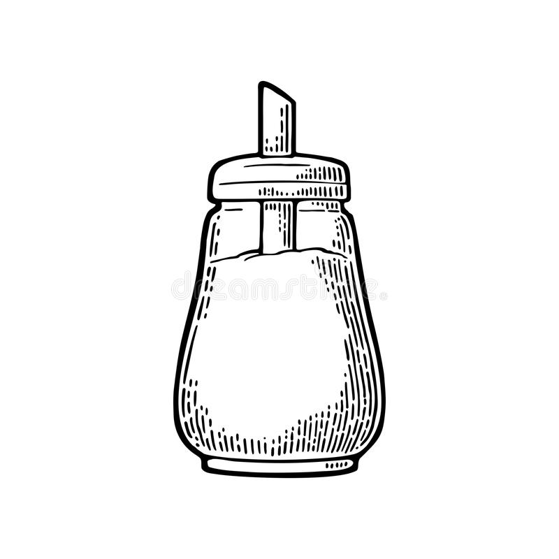 Glass sugar shaker. Hand drawn sketch style. Vintage vector engraving stock illustration
