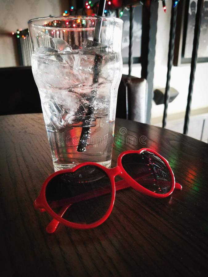 Glass and Sunglasses stock photography