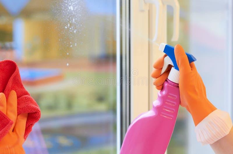 glass surface fönster för cleaningfokus Sprej för att göra ren i händer royaltyfri fotografi