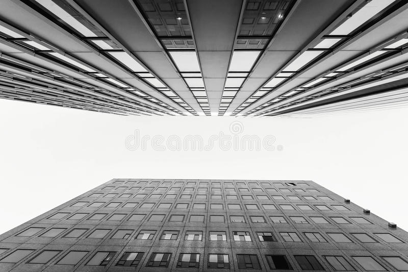 Glass surface of skyscrapers view in district of business center stock photo