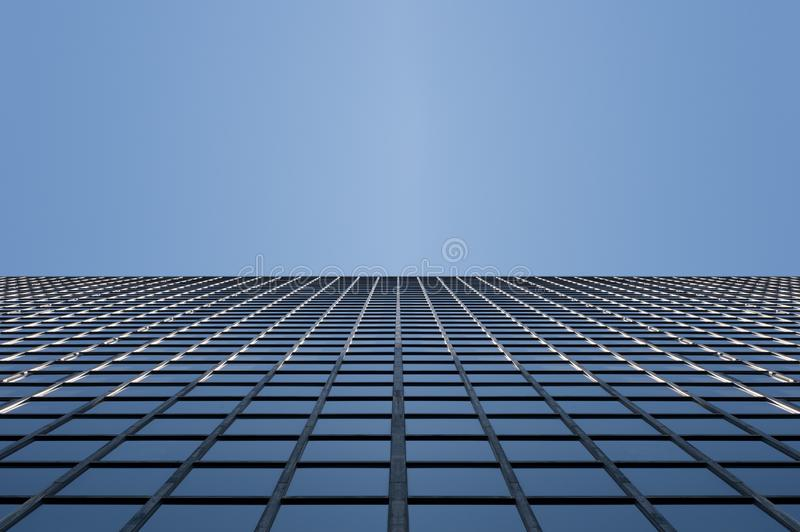 Glass surface of skyscrapers view stock images