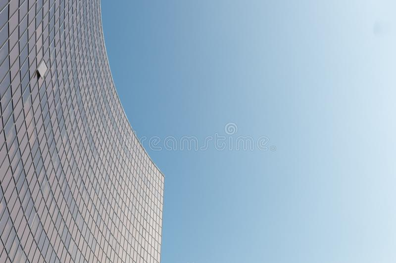 Glass surface of skyscrapers view stock photos