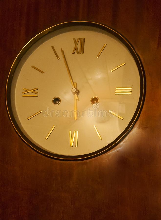 Old clock. Glass table at the countryside stock photos